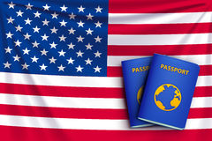 Passport flag 01. Illustration of realistic flag of the united states of america with passports Stock Photos