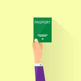 Passport Flat Icon Businessman Hand Hold Travel Stock Photography