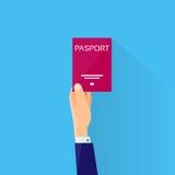 Passport Flat Icon Businessman Hand Hold Travel. Document Vector Illustration royalty free illustration
