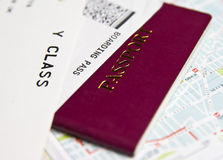 Passport and flight boarding pass. Passport and Boarding pass  for a travel Stock Photography