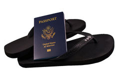 Passport with Flip Flops Royalty Free Stock Photo