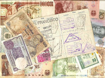 Passport and foreign currency. Old foreign currency from around the world with passport Stock Images