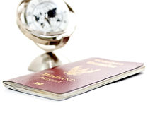 Passport with global model 2 Stock Images