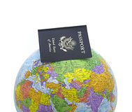 Passport on Globe Royalty Free Stock Images