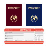 Passport with globe blue and red Stock Photo