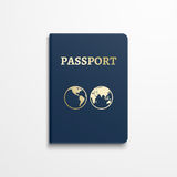 Passport with gold globe earth emblem on cover. Vector illustration Stock Photography