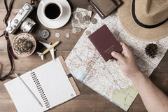 Passport in hand man on Thailand map background. And vintage tone, concept prepare to travel stock image