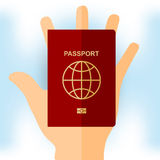 Passport in hand. For tourists, red, vector format Stock Photo