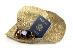Passport with hat Stock Photography