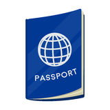 Passport icon in cartoon style isolated on white background. Rest and travel symbol stock vector illustration. Passport icon in cartoon design isolated on white Royalty Free Stock Photography