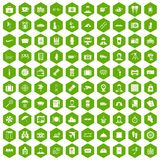 100 passport icons hexagon green. 100 passport icons set in green hexagon isolated vector illustration Royalty Free Stock Photo