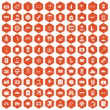 100 passport icons hexagon orange. 100 passport icons set in orange hexagon isolated vector illustration vector illustration