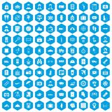 100 passport icons set blue. 100 passport icons set in blue hexagon isolated vector illustration Stock Illustration