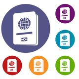 Passport icons set Stock Images