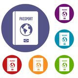 Passport icons set. In flat circle reb, blue and green color for web stock illustration