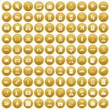 100 passport icons set gold vector illustration