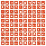 100 passport icons set grunge orange. 100 passport icons set in grunge style orange color isolated on white background vector illustration Royalty Free Stock Photos