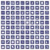 100 passport icons set grunge sapphire. 100 passport icons set in grunge style sapphire color isolated on white background vector illustration Stock Photos