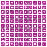 100 passport icons set grunge pink. 100 passport icons set in grunge style pink color isolated on white background vector illustration Royalty Free Stock Photography