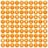 100 passport icons set orange. 100 passport icons set in orange circle isolated on white vector illustration Stock Image