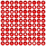 100 passport icons set red. 100 passport icons set in red circle isolated on white vector illustration Stock Photo
