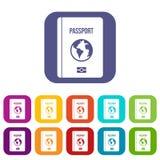 Passport icons set stock illustration