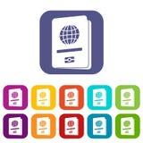 Passport icons set royalty free illustration
