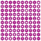 100 passport icons hexagon violet. 100 passport icons set in violet hexagon isolated vector illustration vector illustration