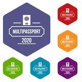 Passport icons vector hexahedron. Passport icons vector colorful hexahedron set collection isolated on white vector illustration