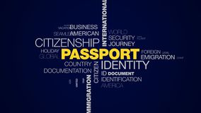 Passport identity citizenship international border official airport customs departure immigration destination animated. Word cloud background in uhd 4k 3840 vector illustration