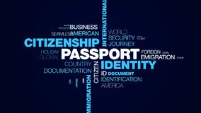 Passport identity citizenship international border official airport customs departure immigration destination animated. Word cloud background in uhd 4k 3840 stock illustration