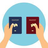 Passport  illustration red and blue Stock Photography