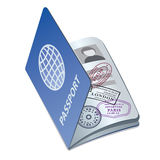 Passport. Illustration of the passport with visa stamps royalty free illustration