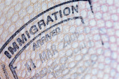 Passport page stamp immigration close up Stock Images