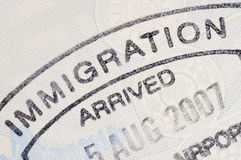 Passport immigration stamp Stock Photography