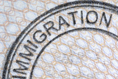 Passport page immigration stamp close up Royalty Free Stock Image