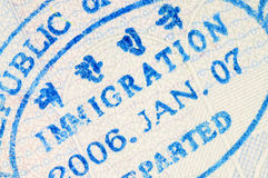 Passport immigration stamp Royalty Free Stock Photography