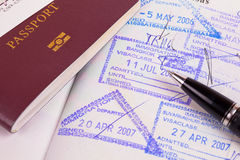 Passport and immigration stamps Royalty Free Stock Images