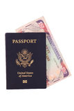 Passport with Jamaican Money Stock Images