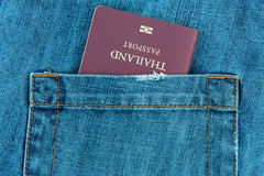 Passport in the Jeans pocket Royalty Free Stock Photography