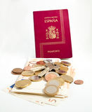 Passport, keys, money. On a white background Royalty Free Stock Photos