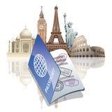 Passport and landmarks vector illustration