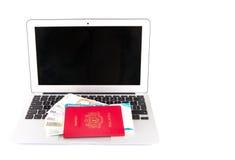 Passport And Laptop III Stock Photo