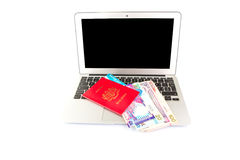 Passport And Laptop VI Royalty Free Stock Image