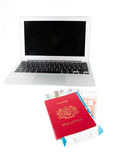 Passport And Laptop VIII Royalty Free Stock Images