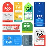 Passport and Luggage Tags Color Set. Vector. Passport and Luggage Tags Color Set Symbol of Tourism for App and Web Design. Vector illustration of Travel Labels stock illustration