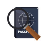 Passport and  magnifying glass icon Royalty Free Stock Image