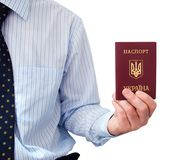 The passport  in a man's hand Royalty Free Stock Photography