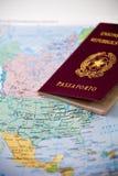 Passport on map Stock Image