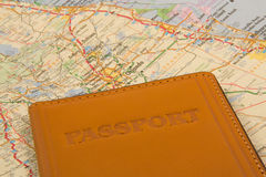 Passport on a map Stock Photo
